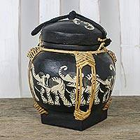 Bamboo and clay decorative jar, 'Nighttime Elephant Dance' - Handmade Thai Black Decorative Elephant Jar