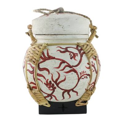 Decorative Jar with Red Leaf Motifs from Thailand