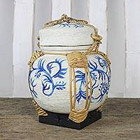 Bamboo and clay decorative jar, 'Charming Willow in Blue' - Decorative Jar with Blue Leaf Motifs from Thailand
