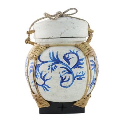 Decorative Jar with Blue Leaf Motifs from Thailand