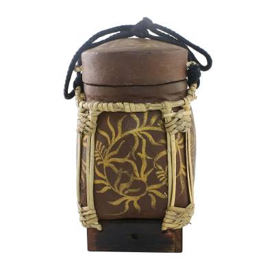 Leaf Motif Decorative Jar in Brown from Thailand