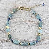Gold plated multi-gemstone beaded necklace, 'Wondrous Nature' - Gold Plated Multi-Gemstone Beaded Necklace from Thailand