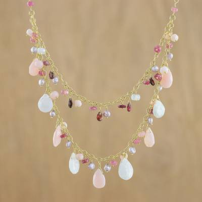 Gold plated multi-gemstone pendant necklace, 'Sweet Seasons' - Gold Plated Multi-Gem Pendant Necklace from Thailand