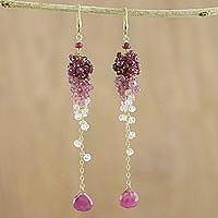 Gold plated ruby and tourmaline dangle earrings, 'Dangling Grapes' - Gold Plated Ruby and Tourmaline Earrings from Thailand