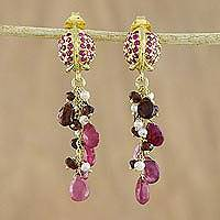 Gold plated multi-gemstone dangle earrings, 'Glittering Beetles' - Gold Plated Multi-Gem Beetle Earrings from Thailand