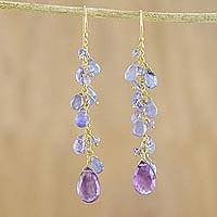 Gold accented amethyst and tanzanite dangle earrings, 'Lilac Wind' - Gold Plated Amethyst and Tanzanite Earrings from Thailand