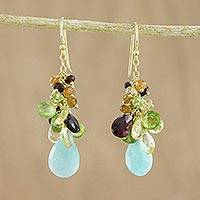 Gold plated multi-gemstone dangle earrings, 'Forest Depths' - Colorful Multi-Gemstone Dangle Earrings from Thailand