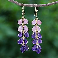 Gold plated amethyst and ruby dangle earrings, 'Sparkling Splash' - Gold Plated Amethyst and Ruby Earrings from Thailand