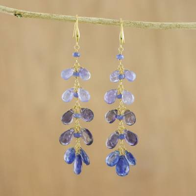 Gold plated multi-gemstone dangle earrings, 'Sparkling Splash' - Kyanite Tanzanite and Iolite Earrings from Thailand