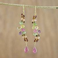 Gold plated multi-gemstone dangle earrings, 'Earth Harmony' - Gold Plated Multicolored Dangle Earrings from Thailand