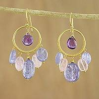 Gold plated multi-gemstone tanzanite and amethyst dangle earrings, 'Pastel World' - Gold Plated Tanzanite and Amethyst Earrings from Thailand