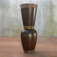 Wood decorative vase, 'Harmonious Brown' - Brown Mango Wood Decorative Vase from Thailand