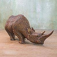 Wood sculpture, 'Strong Rhino' - Hand Carved Raintree Wood Rhino Sculpture from Thailand