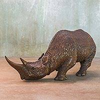 Wood sculpture, 'Majestic Rhino' - Hand Carved Thai Raintree Wood Realistic Rhino Sculpture