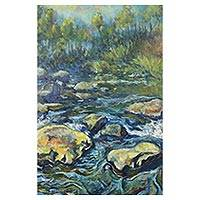 'Ping's River Source in Chiang Dao' - Signed Impressionist River Painting from Thailand