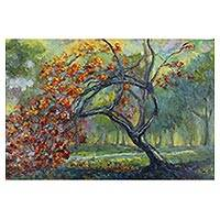 'Peacock Flower in the Park' - Signed Impressionist Painting of a Tree from Thailand