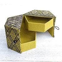 Cotton jewelry box, 'Regal Thai Lotus' (2 trays) - Handcrafted Thai Cotton Print Jewelry Box with 2 Drawers