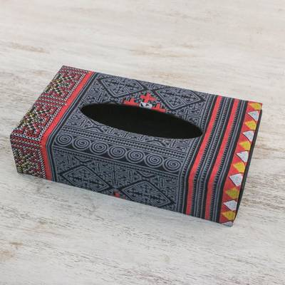 Cotton tissue box cover, 'Hill Tribe Dream' - Cotton Tissue Box Cover in Red Yellow and Charcoal Grey