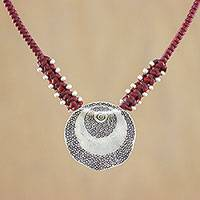 Silver pendant necklace, 'Target' - Silver Target Medallion Pendant Necklace with Red Cord