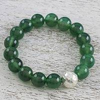 Jade beaded stretch bracelet, 'Grand Viridian' - Dyed Green Chalcedony Hammered 950 Silver Beaded Bracelet