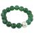 Jade beaded stretch bracelet, 'Grand Viridian' - Dyed Green Chalcedony Hammered 950 Silver Beaded Bracelet (image 2a) thumbail