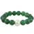 Jade beaded stretch bracelet, 'Grand Viridian' - Dyed Green Chalcedony Hammered 950 Silver Beaded Bracelet (image 2c) thumbail