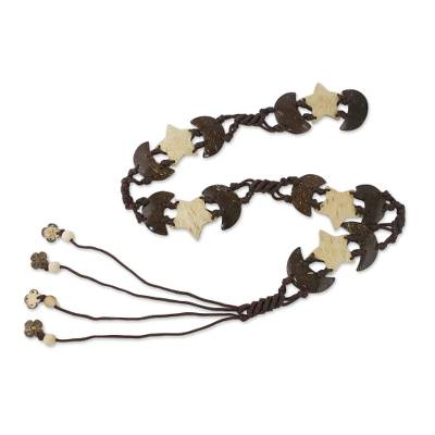 Stars and Half Moons Coconut Shell and Nylon Cord Tie Belt