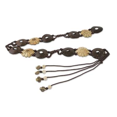 Flowers and Circles Coconut Shell and Nylon Cord Tie Belt