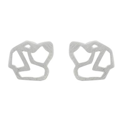 Handmade 925 Sterling Silver St. Bernard Dog Stud Earrings