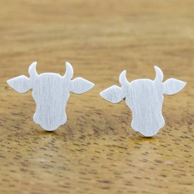Sterling silver stud earrings, 'Gentle Bull' - Handmade 925 Sterling Silver Bull Steer Stud Earrings