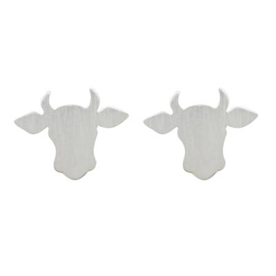 Handmade 925 Sterling Silver Bull Steer Stud Earrings