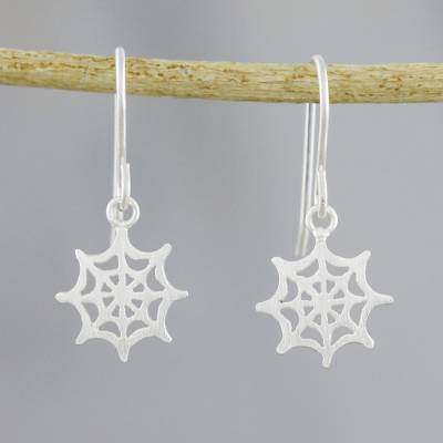 Sterling silver dangle earrings, 'Delicate Cobwebs' - Sterling Silver Handcrafted Spider Web Dangle Earrings