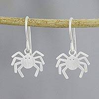 Sterling silver dangle earrings, 'Eight Legged Love' - 925 Sterling Silver Handmade Dangle Spider Earrings