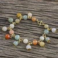 Gold plated jade and quartz link bracelet, 'Sweet Jade' - 18K Gold Plated Jade Quartz Link Bracelet with Hook Clasp