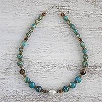 Multi-gemstone and sterling silver beaded necklace, 'Global Wanderer' - Multi-Gemstone Beaded Necklace Handmade in Thailand