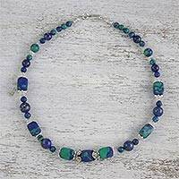 Multi-gemstone beaded necklace, 'Serenity of the Deep' - Multi-Gemstone Beaded Necklace Handmade in Thailand
