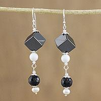 Multi-gemstone beaded dangle earrings, 'Achromatic Allure' (Thailand)