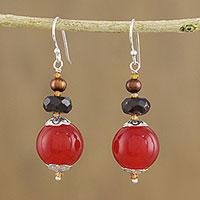 Multi-gemstone beaded dangle earrings, 'Daybreak Bloom' (Thailand)