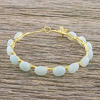 Gold plated chalcedony bangle bracelet, 'Romantic Fling' - 18k Gold Plated Chalcedony Bangle Bracelet from Thailand