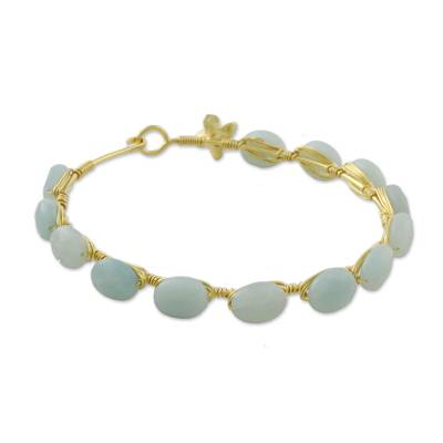 18k Gold Plated Chalcedony Bangle Bracelet from Thailand