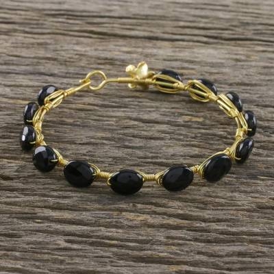 Gold plated onyx bangle bracelet, 'Romantic Fling' - 18k Gold Plated Onyx Bangle Bracelet from Thailand