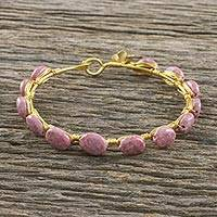 Gold plated rhodonite bangle bracelet, 'Romantic Fling' - 18k Gold Plated Rhodonite Bangle Bracelet from Thailand