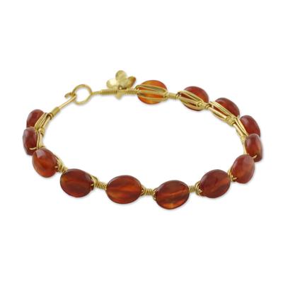 18k Gold Plated Carnelian Bangle Bracelet from Thailand