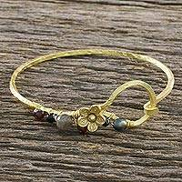 Gold plated multi-gemstone bangle bracelet, 'Blossoming Season' - 18k Gold Plated Multi-Gemstone Bangle Bracelet from Thailand