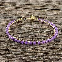 Gold plated quartz bangle bracelet, 'Fall in Love in Purple' - Gold Plated Purple Quartz Bangle Bracelet from Thailand