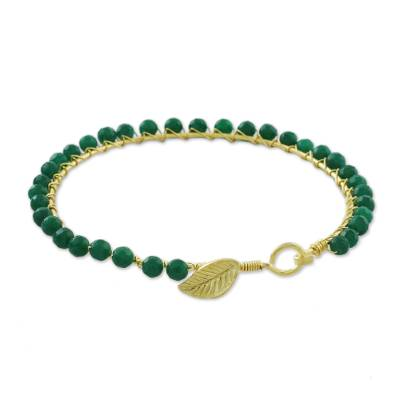 Gold plated quartz bangle bracelet, 'Fall in Love in Green' - Gold Plated Green Quartz Bangle Bracelet from Thailand