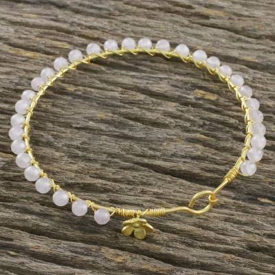 Gold plated moonstone bangle bracelet, 'Fall in Love' - Gold Plated Moonstone Beaded Bangle Bracelet from Thailand