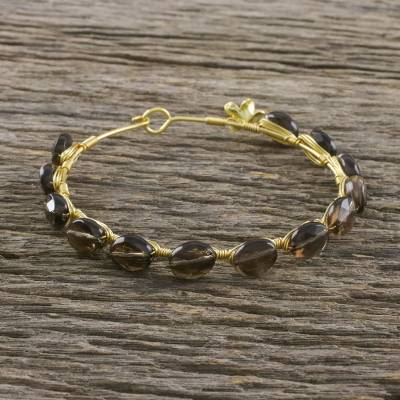 Gold plated smoky quartz bangle bracelet, 'Romantic Fling' - Gold Plated Thai Smoky Quartz Beaded Bangle Bracelet