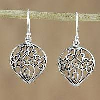 Sterling silver dangle earrings, 'Trinity of Blossoms' - Sterling Silver Floral Dangle Earrings Made in Thailand