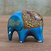 Ceramic figurine, 'Ceremonial Elephant in Azure' - Azure Blue Ceremonial Ceramic Elephant from Thailand